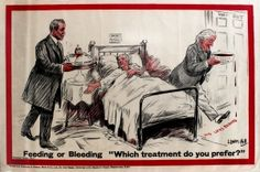 UK Elections Feeding or Bleeding Lloyd George, 1920s - one of a series of original vintage posters by L Ravenhill (Leonard Raven-Hill) featuring David Lloyd George, listed on AntikBar.co.uk
