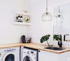 Just because it& a practical space doesn't mean it should be forgotten. Lana Taylor from Three Birds Renovations shares tips on how to revamp a laundry. Home Renovation, Home Remodeling, Laundry Bathroom Combo, Small Bathroom, Bathroom Ideas, Three Birds Renovations, Laundry Room Design, Laundry Rooms, Small Laundry
