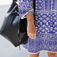 Bucket bliss, Mansur Gavriel. marocco print isabel marant dress lue white fashion streetstyle print