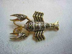 Vintage 24K Gold Incrusted Lobster Damasquinado Damascene Brooch