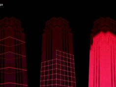 """Ghent Light Festival, GLF 29.01-01.02.2015 Belgium. 2. I-Illusions - Re-Construct/ """"Den djoef"""" Boekentoren (Rozier)  Re-Construct gives you the opportunity to make a monument rise back out of the ground with a single well-aimed blow of the hammer."""