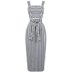 Warehouse Stripe Midi Pencil Dress ($59) ❤ liked on Polyvore featuring dresses, cleo blue stripe, women, cotton midi dress, striped midi dress, mid calf dresses, striped cotton dress and stripe dresses