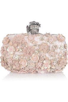 Flower-appliquéd silk-brocade box clutch by Alexander McQueen Alexandre Mcqueen, Alexander Mcqueen Clutch, Pink Handbags, Purses And Handbags, Handbags Online, Leather Handbags, Fashion Bags, Fashion Accessories, Beaded Clutch
