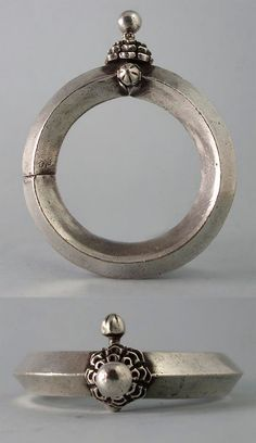 India | Antique silver bangle from Rajasthan