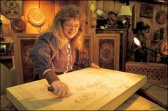 Woodcarving at Silver Dollar City, Branson MO. This is Pam.