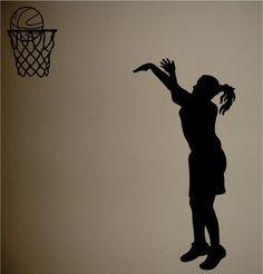 Girls Basketball Silhouette Girls Room Wall Decal Decor