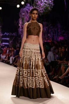 Brown lengha. Manish Malhotra's Show at LFW S/R 2014