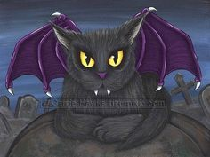 Cat Vampire Art Vlad Gothic Graveyard Fantasy Cat by tigerpixie
