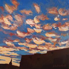 Sunset Clouds Over Santa Fe, New Mexico New Mexican Sky American Southwest Original Landscape Fine Art Impressionist Oil Painting on Canvas