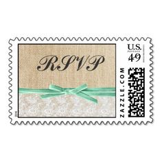 Rustic Burlap Lace Mint Ribbon Wedding RSVP Postage Stamps