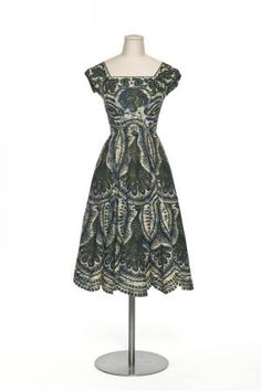 Carven cotton peacock print afternoon dress 1949