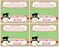 Snowman Soup Bag Topper These fun little toppers will be adorable on the top of a bag filled with yummy hot chocolate and a candy cane! What a