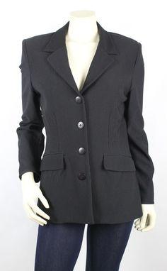 Bisou Bisou Black Ribbed Long Sleeve Button Front Blazer Jacket Size 8 #BisouBisou #Blazer