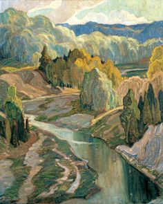"""Franklin Carmichael (1890 – 1945) was a Canadian artist.  He was the youngest original member of the Group of Seven.   """"The Valley"""""""