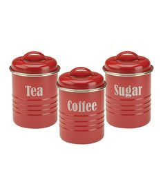 Love this Red Labeled Tea, Coffee & Sugar Canister Set by Typhoon on #zulily! #zulilyfinds
