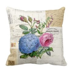 Vintage Floral French Pillow  | Visit the Zazzle Site for More: http://www.zazzle.com/?rf=238228028496470081 [Referral Link]