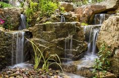 waterfalls for window wells, outdoor living, ponds water features, window treatments, windows, Creative use of rock provides inspiring scenery