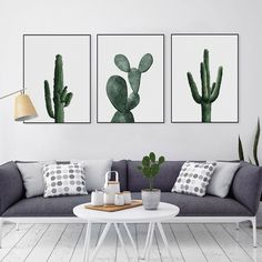3Pcs Watercolor Green Cactus Canvas Art Print Poster Wall Pictures Home Decor