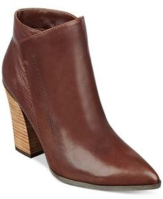 GUESS Women's Hardey Pointed-Toe Booties leather brown 3.9h sz7.5 149.00