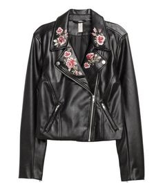 Check this out! Short biker jacket in imitation leather with a diagonal zip. Embroidered lapels with snap fasteners, side pockets with zip, and zip at cuffs. Lined. - Visit hm.com to see more.
