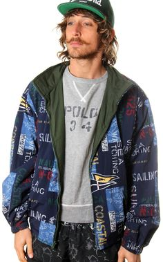 9505fc4d5c VINTAGE NAUTICA FISHERMAN REVERSIBLE ALL OVER PRINT JACKET