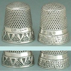H. Muhr's Sons Antique Sterling Silver Thimbles (Vintage Circa 1890 H Muhrs Sons Crown Logo Thimble)