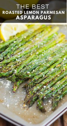 Side dish recipes 482166703858121930 - This Lemon Parmesan Roasted Asparagus is a simple and easy side dish that's packed with flavor. Fresh asparagus is roasted to perfection in the oven and seasoned with lemon juice and Parmesan cheese! Side Dish Recipes, Vegetable Recipes, Vegetarian Recipes, Healthy Recipes, Asparagus Recipes Oven, Baked Parmesan Asparagus, Oven Baked Asparagus, Best Asparagus Recipe, Recipes