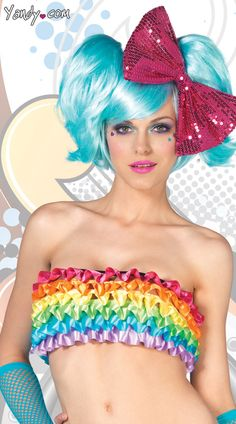 Rainbow Ruffle Rave Top, Ruffled Tube Top, Rain Bow Shirt
