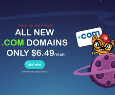 all new .COM domains from Superb Registrar are available for only $6.49/year.
