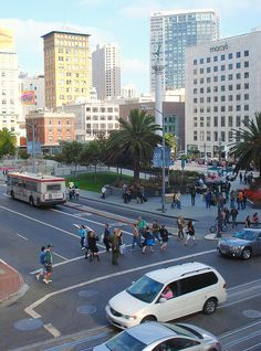 Mouse over photo for special notes!!    From DSW shoes Post & Powell.    You don't need a car or a cab with MUNI subways, buses and trolleys locally and BART trains to the airports - all water powered, no gas! (except some diesel buses) Plus there's car