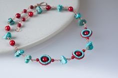 Turquoise and coral necklace with beadwoven seed by CookOnStrike, $36.00
