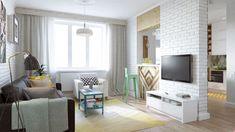 aranżacja salonu w małym mieszkaniu,mieszkanie w pastelowych kolorach,biała cegla w salonie,małe mieszkanie 45 m2,jak urzadzić małe mieszkanie,projekt 3d małego mieszkania,wizualizacja 3d małego mieszkania,piekne projekty małych mieszkań,mieszkanie dla młodego malżeństwa,mieszkanie dla singla,aranzacja kawalerki,piekna aranżacja małego mieszkania,dobre pomysły na małe mieszkanie,najlepsze projekty małych mieszkań w bloku