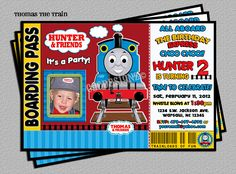 Thomas The Train Birthday Party Photo Invitation -DIY Digital File -You Print Thomas Birthday Parties, Thomas The Train Birthday Party, Trains Birthday Party, Birthday Fun, Train Party, Birthday Ideas, Photo Birthday Invitations, Thomas And Friends, Party Ideas