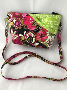 Wallet Sling Bag, Small Purse, Credit Card Slots, Pink and Green Print, Joey Cross Body Bag, Ladies Clutch, by JazzyJoDesigns on Etsy