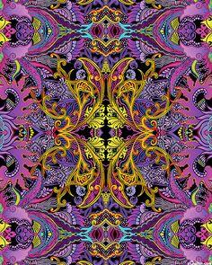 Kismet - Dragonette Filigree - Orchid Purple Equilter cotton fabric