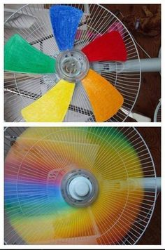 Cool idea ! Paint the blades of your fan for a rainbow effect