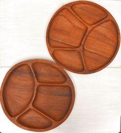 Teak Wood Trays 60s Vintage Divided Dinner by StoryTellersVintage
