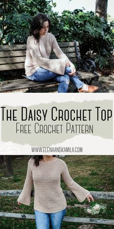 Free crochet pattern for the daisy top. A light and flowy crochet top with bell sleeves.  #freecrochetpattern #crochetshirt #crochetsweater