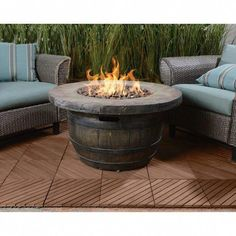 Vineyard Propane Fire Table - Big Heat, Hot Look Now you can get all the benefits of a fire pit without the mess, and add a distinctive look to your patio or Fire Pit Landscaping, Fire Pit Backyard, Landscaping Ideas, Wine Barrel Fire Pit, Wine Barrels, Outside Fire Pits, Fire Pit Ring, Fire Pit Furniture, Barrel Furniture
