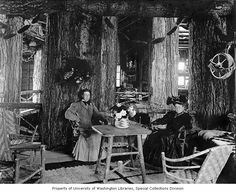 Women seated inside the Forestry Building, Lewis and Clark Exposition, Portland, Oregon, 1905