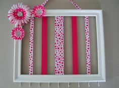 Girls 11x14 hair bow and headband holder, hair accessories holder, picture frame, girls hot pink and whitepolka dot room decor via Etsy