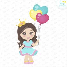 Baby Cartoon Drawing, Cute Girl Drawing, Cartoon Kids, Girl Cartoon, Drawing Pics, Diva Birthday Parties, Princess Theme Birthday, Happy Eid, Happy B Day