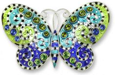 Butterfly with Crystals Sterling Silver Color Pin Jewelry