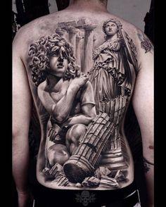 Athena & Medusa by @javi_tattooedtheory at @tattooedtheory in Hialeah Florida. #athena #medusa #snakes #backpiece #javi_tattooedtheory #javitattooedtheory #tattooedtheory #hialeah #florida #tattoo #tattoos #tattoosnob