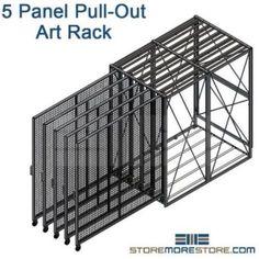 Five Panel Art Storage Rack High Capacity Hanging Framed Artwork Paintings Craft Storage Drawers, Paint Storage, Bench With Shoe Storage, Craft Room Storage, Stair Storage, Storage Rack, Storage Spaces, Showroom Interior Design, Tile Showroom
