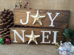 JOY and NOEL sign SET with Knobby Starfish by SeaToLandDesigns