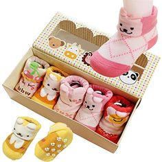 5pair Baby Girls Toddler Animal Cotton Anti NonSkid Slip Crew Socks 012 Month * Details can be found by clicking on the image.