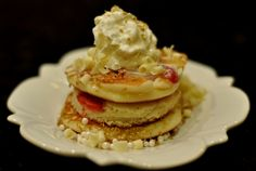 Wedding Cake Pancakes - Strawberry and Champagne Pancakes with White Chocolate Glaze, Edible Pearls and Whipped Cream