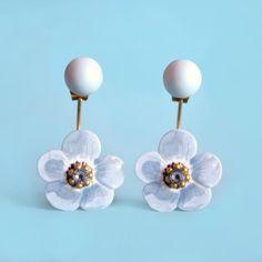 Swing Anemos | SHOP ONLINE on luliartbijoux.com #blue #floral #summer #earrings #jacketearrings #swingearrings #jewelry