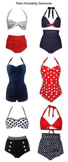 6 Vintage Retro Rockabilly Swimsuits Sale On www.lulugal.com, Free Shipping!